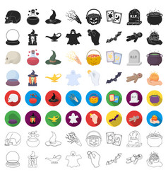cartoon and white magic set icons in cartoon style vector image