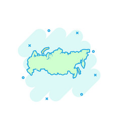 cartoon colored russia map icon in comic style vector image