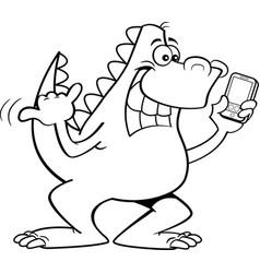 Cartoon dinosaur holding a cell phone vector