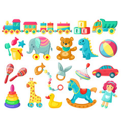 Cartoon kids toys baby plastic and wooden toys vector