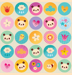 Circles pattern baby panda bears flowers clouds vector