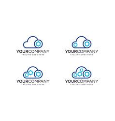 Cloud technology for logo designs editable vector