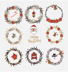 Collection of christmas wreaths vector