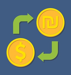 Currency exchange Dollar and Shekel vector image