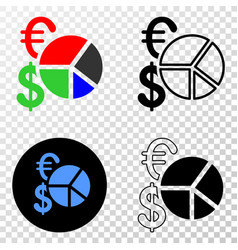 currency pie chart eps icon with contour vector image