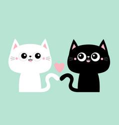 cute black cat kitty kitten set pink heart kawaii vector image
