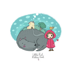 Cute cartoon little girl red riding hood fairy vector