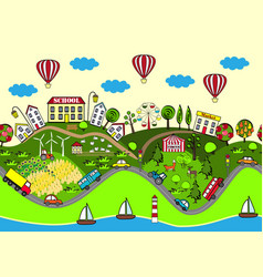 cute seamless pattern with summer city vector image