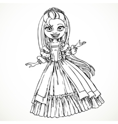 Cute young princess with long hair sketch vector