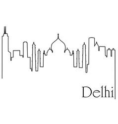 delhi city one line drawing vector image