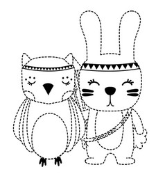 Dotted shape owl and rabbit animals with feathers vector