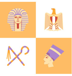 egypt national symbols icon set in flat style vector image