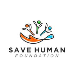 Family care social logo modern design hand logo vector