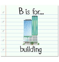 Flashcard letter B is for building vector