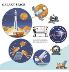 flat galaxy space colorful template vector image