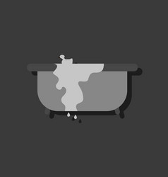 Flat icon design collection overflowing bathtub vector