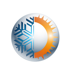 Gear hot and cold round sign logo temperature vector