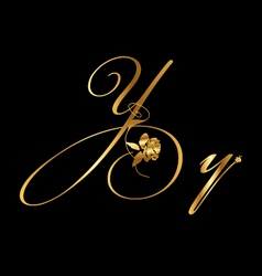 Gold letter y with roses vector image