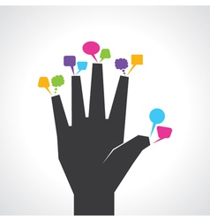 Hand with colorful message bubbles vector
