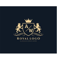Initial aw letter lion royal luxury heraldiccrest vector