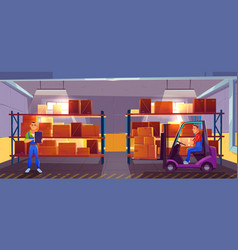 inner view warehouse interior logistics stock vector image