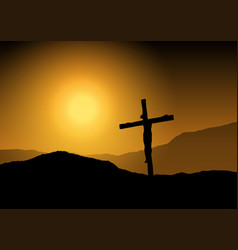 jesus on cross at sunset vector image