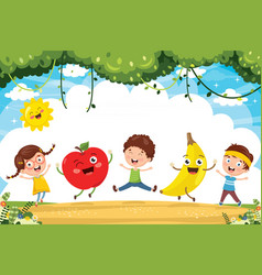 kids and fruit characters vector image