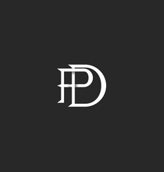 Letters pd logo monogram initials linear black vector