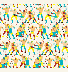 lucha libre seamless patternluchadores heroes vector image
