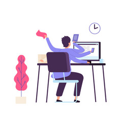 Manager at work administrator time management vector
