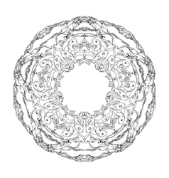 Mandala for coloring with fishes and alga vector image
