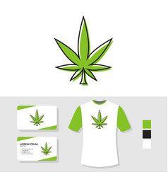 marijuana leaf logo design with business card and vector image