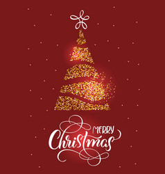 merry christmas text on on red holiday background vector image