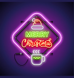 merry christmas with warm mug neon sign vector image