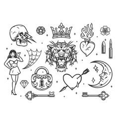 Monochrome vintage tattoos composition vector