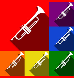 musical instrument trumpet sign set of vector image