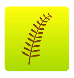 olive twig sign brown icon at green vector image