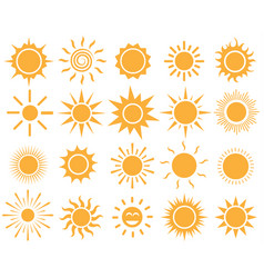 orange sun icon set on white background vector image