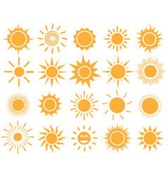 orange sun icon set on white background vector image