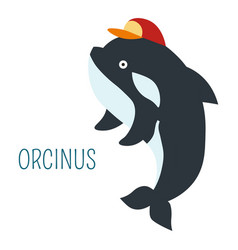 orcinus in cap cartoon childish book character vector image