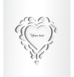 Paper cutout card with heart vector image