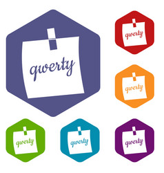 paper sheet with text qwerty icons set hexagon vector image