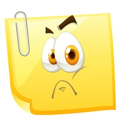 Paper with sad face vector