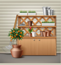 Place for gardening tools vector