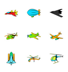 plane icons set cartoon style vector image