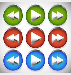 Rewind play fast forward navigation buttons vector