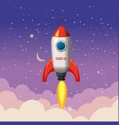 rocket launch ship start up night vector image