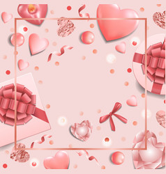 Romantic pink template with top view objects vector