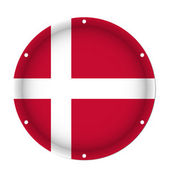 Round metallic flag of denmark with screw holes vector
