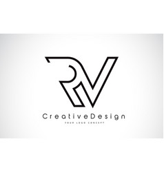 Rv r v letter logo design in black colors vector